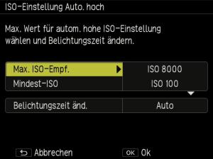 ISO Auto hoch